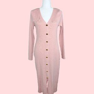 Fashion To Figure Pink Knitted Buttoned Dress